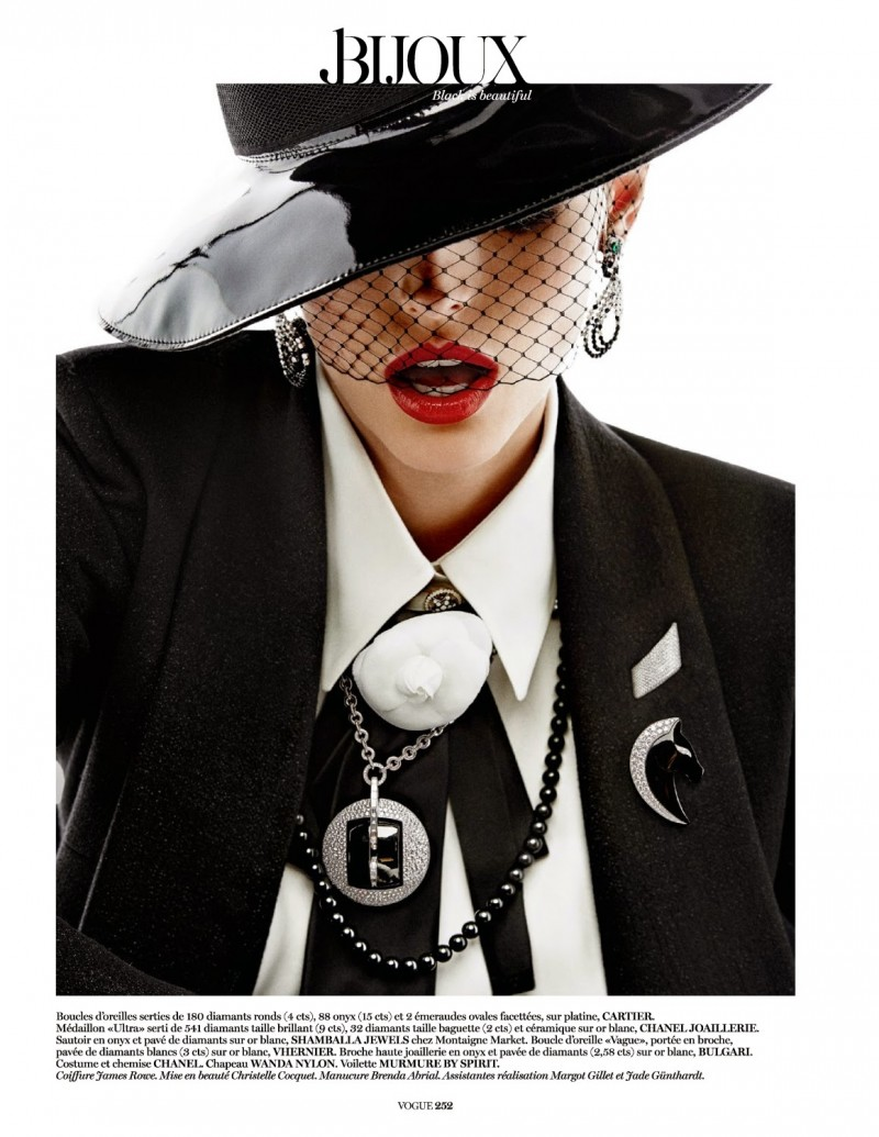 jewels006 800x1035 Karlina Caune Sparkles in Black Jewels for Vogue Paris by Giampaolo Sgura