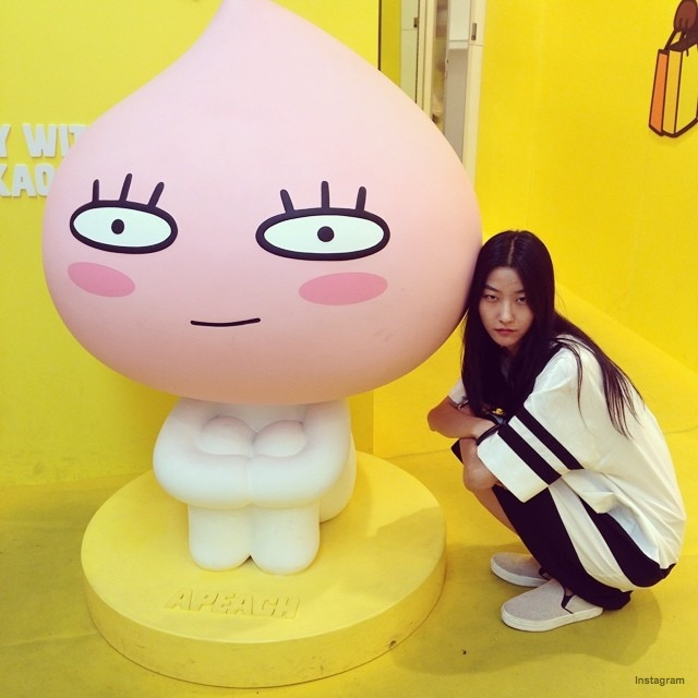 Ji Hye Park poses with doll