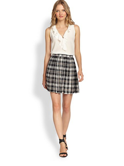 Joie Deron Plaid Silk Pleated Skirt available at Saks Fifth Avenue for $224.00