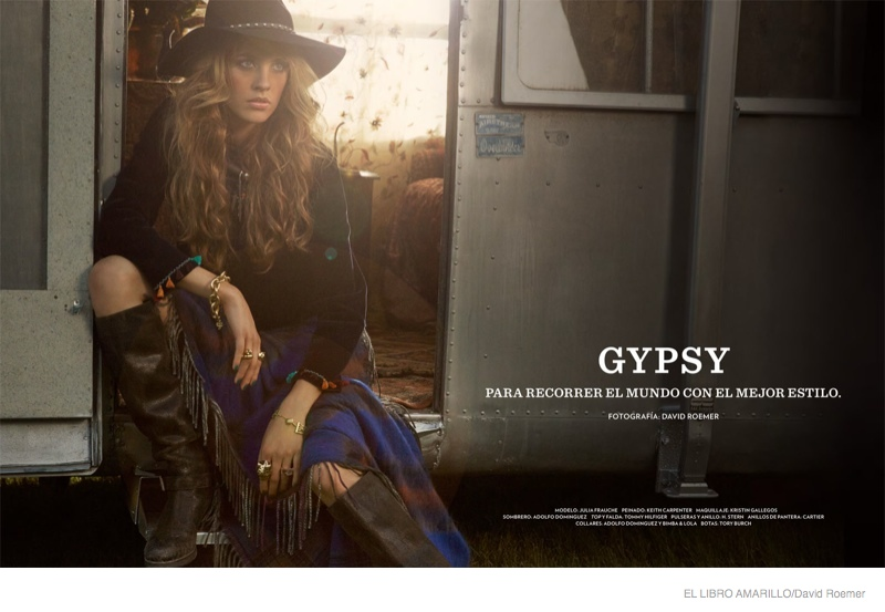 julia frauche gypsy bohemian fashion01 Julia Frauche Wears Gypsy Fashions for El Libro Amarillo by David Roemer