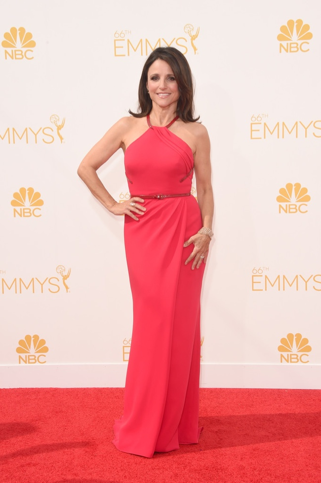 julia louis dreyfus carolina herrera dress 2014 Emmys Red Carpet Style