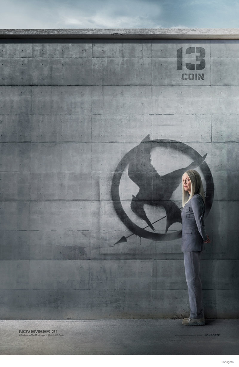 """""""The Hunger Games"""" District 13 Poster with Julianne Moore as President Coin"""
