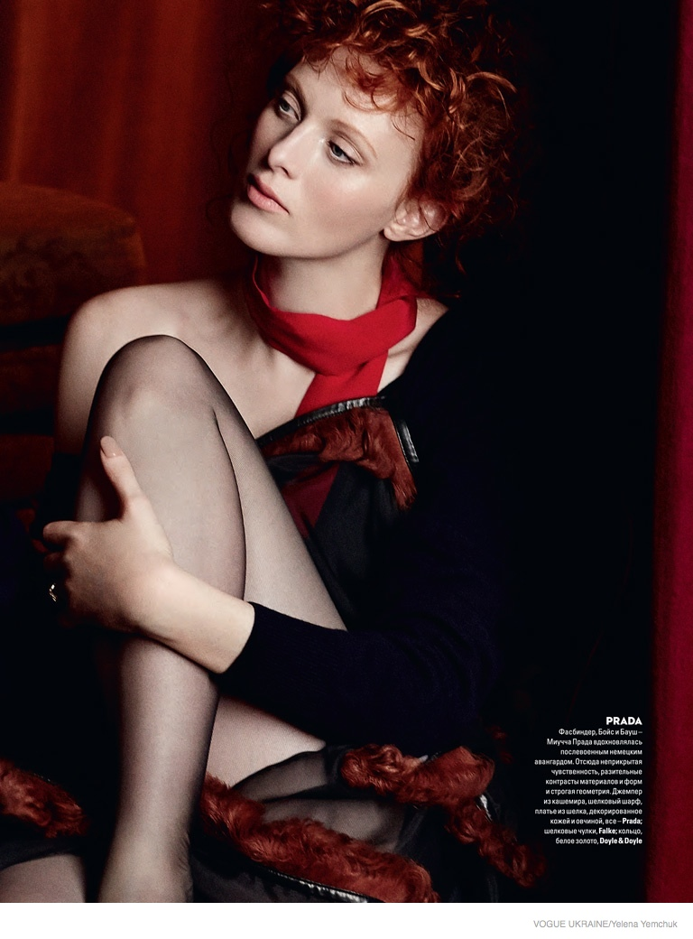 karen elson yelena yemchuk shoot09 Karen Elson Wears Fall Collections for Yelena Yemchuk Shoot in Vogue Ukraine