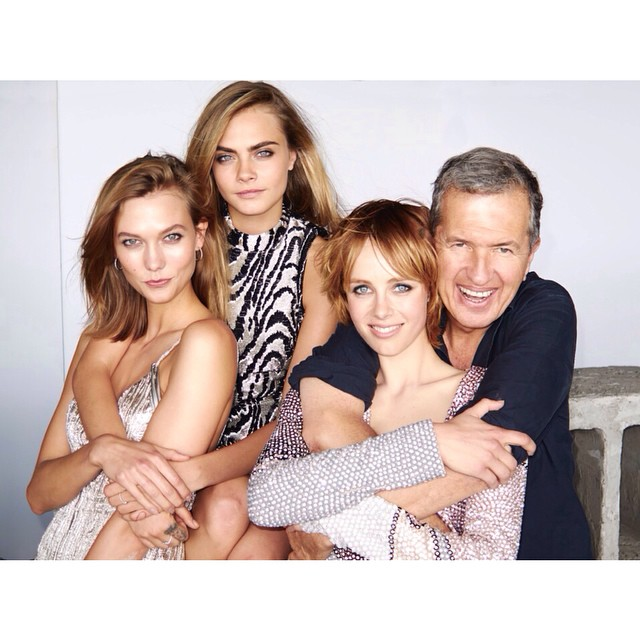 Karlie Kloss, Cara Delevingne, Edie Campbell and Mario Testino on set of Vogue's September shoot