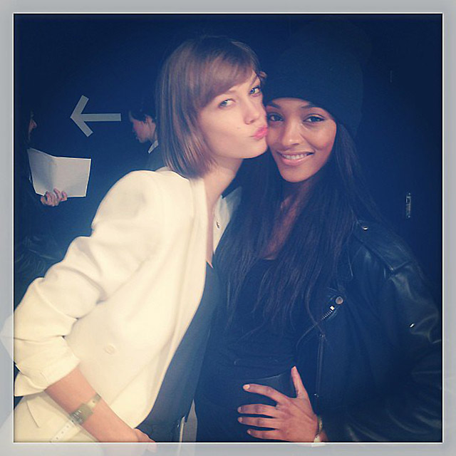 Karlie Kloss and Jourdan Dunn backstage. Photo: Instagram