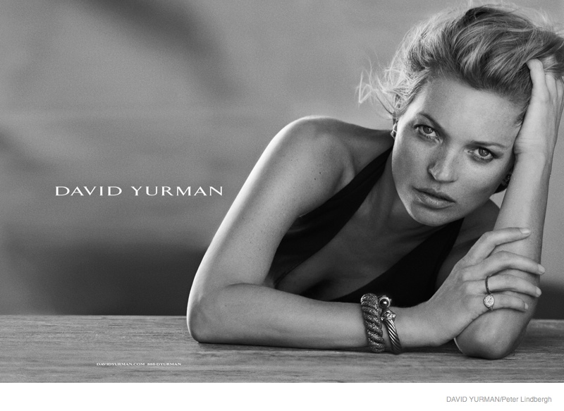 Kate Moss Poses in Black & White for David Yurman Fall Ads by Peter Lindbergh