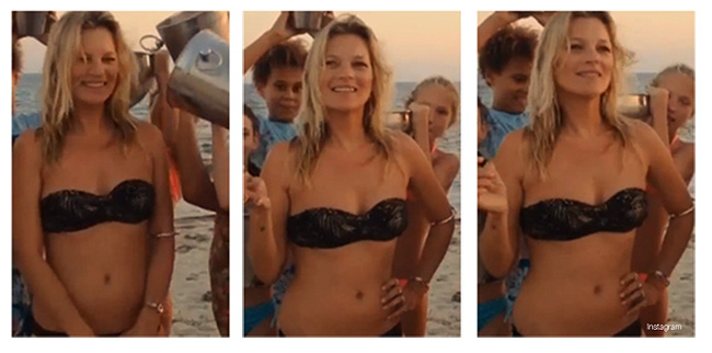 Watch Kate Moss Do the Ice Bucket Challenge in a Black Bikini