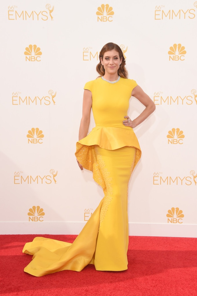 kate walsh yellow stephane rolland dress emmys 2014 Emmys Red Carpet Style