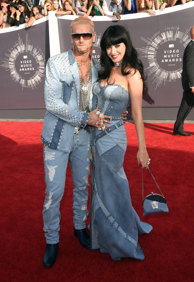 Katy Perry in denim on denim look from Atelier Versace