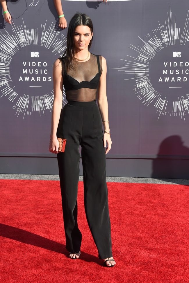 kendall jenner sheer top black vmas 2014 MTV VMAs Red Carpet Style