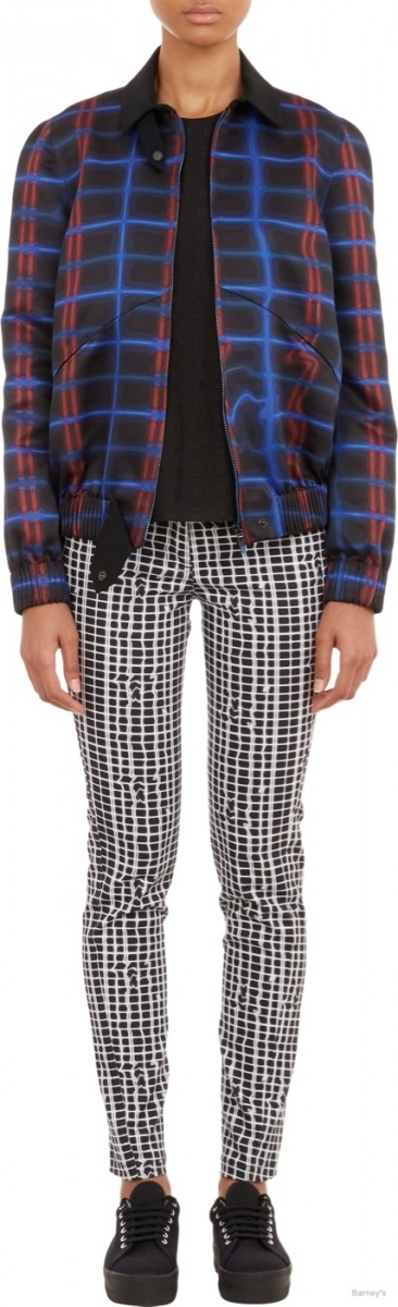 Kenzo Abstract-Plaid Silky Twill Jacket available at Barney's for $958.00