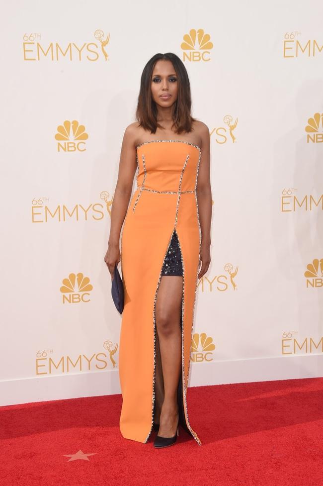 Kerry Washington in open front Prada dress