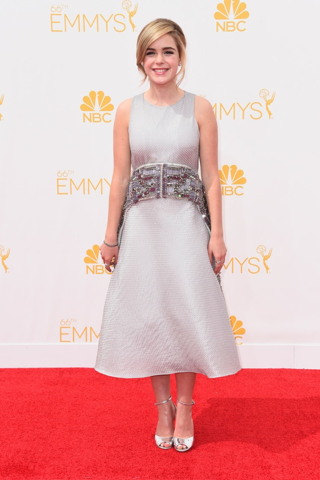 Mad Men's Kiernan Shipka wore a silver Antonio Berardi dress