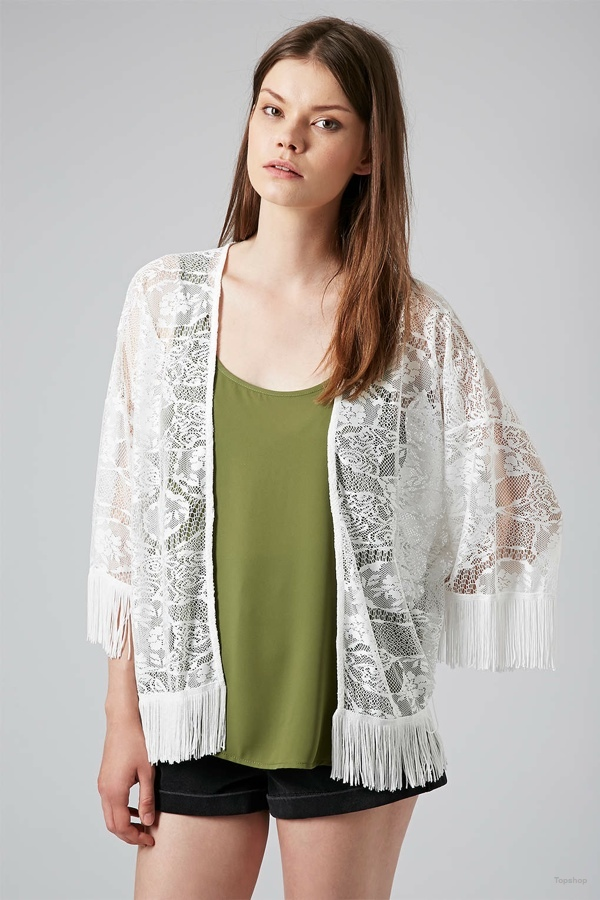 Lace Fringe Kimono Cardigan available at Topshop for $60.00