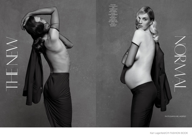 lagerfeld conchita wurst01 Pregnant Ashleigh Good & Conchita Wurst Pose for Karl Lagerfeld in CR Fashion Book #5