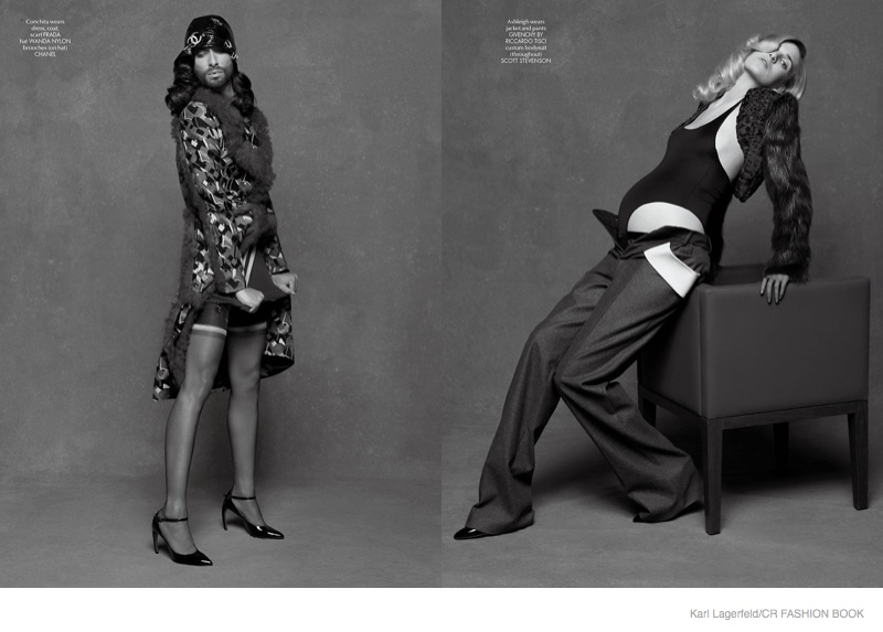 lagerfeld conchita wurst02 Pregnant Ashleigh Good & Conchita Wurst Pose for Karl Lagerfeld in CR Fashion Book #5