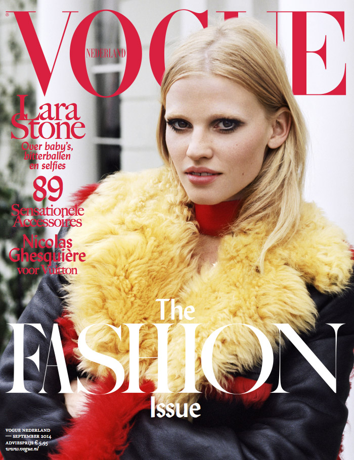 Lara Stone Dons Prada Coat on Vogue Netherlands September 2014 Cover