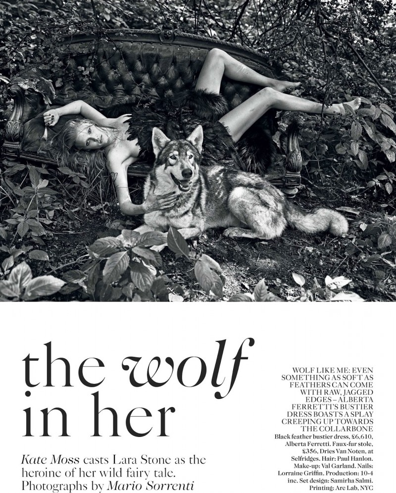 lara vogue uk002 800x995 Lara Stone Poses with Fur, Wolves for Vogue UK Shoot by Mario Sorrenti
