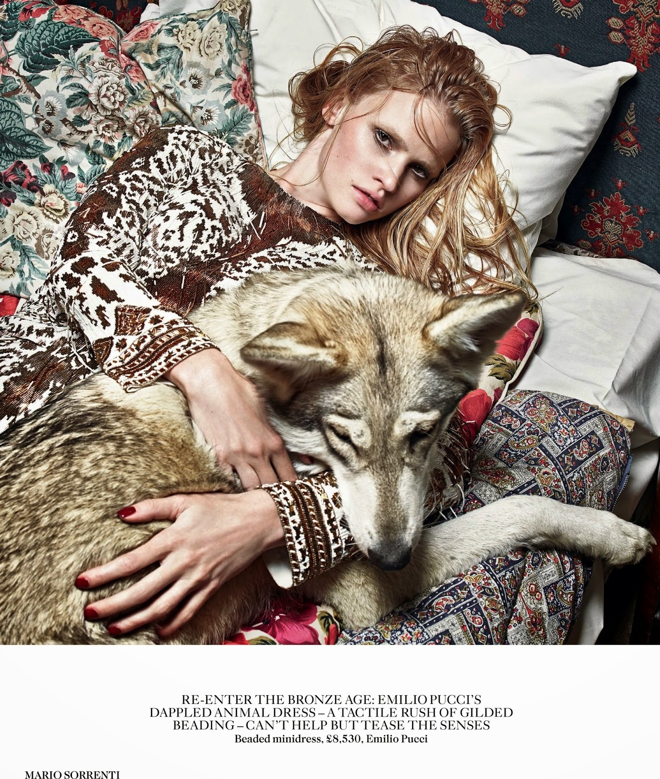 Lara Stone with Wolf in Vogue UK August Issue by Mario Sorrenti