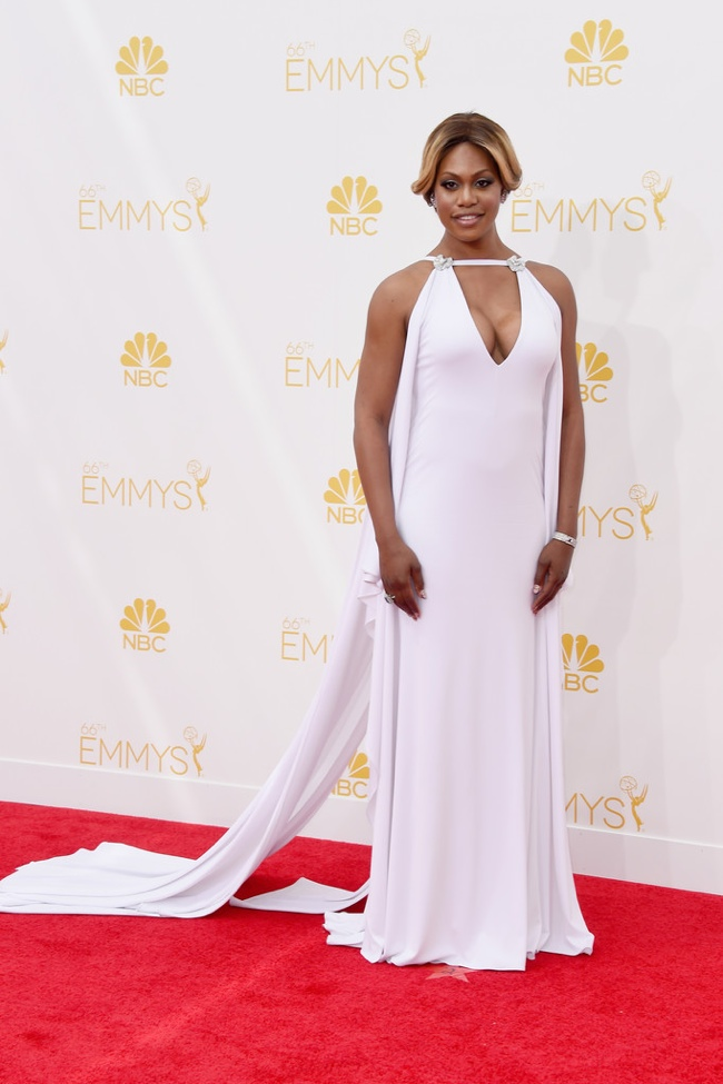 Laverne Cox wore a white Marc Bouwer gown