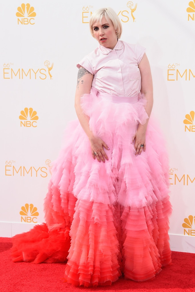Lena Dunham on the Emmys red carpet in Giambattista Valli Fall 2014 Haute Couture