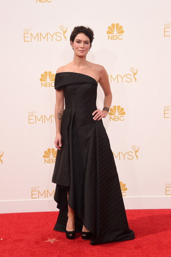 Lena Headey in black Rubin Singer gown