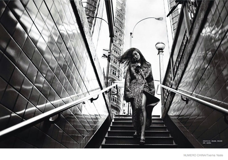 liu wen black white shoot04 Liu Wen Poses in Black & White for Txema Yeste in Numéro China Shoot