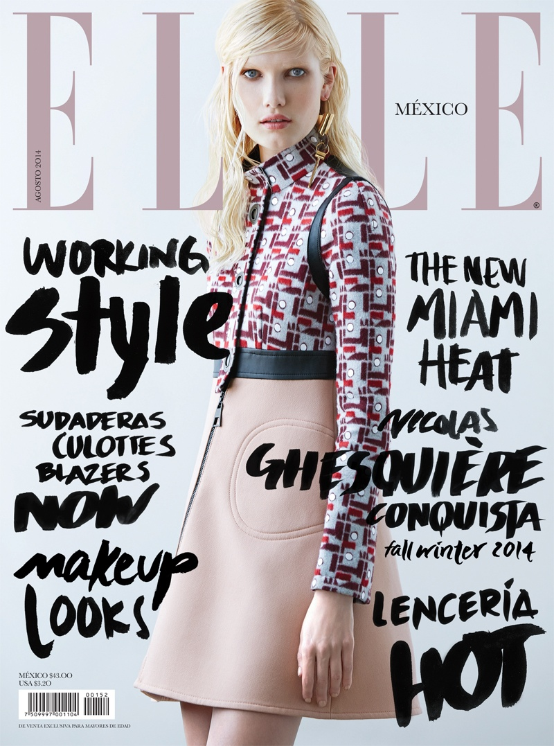 Yulia Terenti in Louis Vuitton Dress for Elle Mexico August 2014 Cover