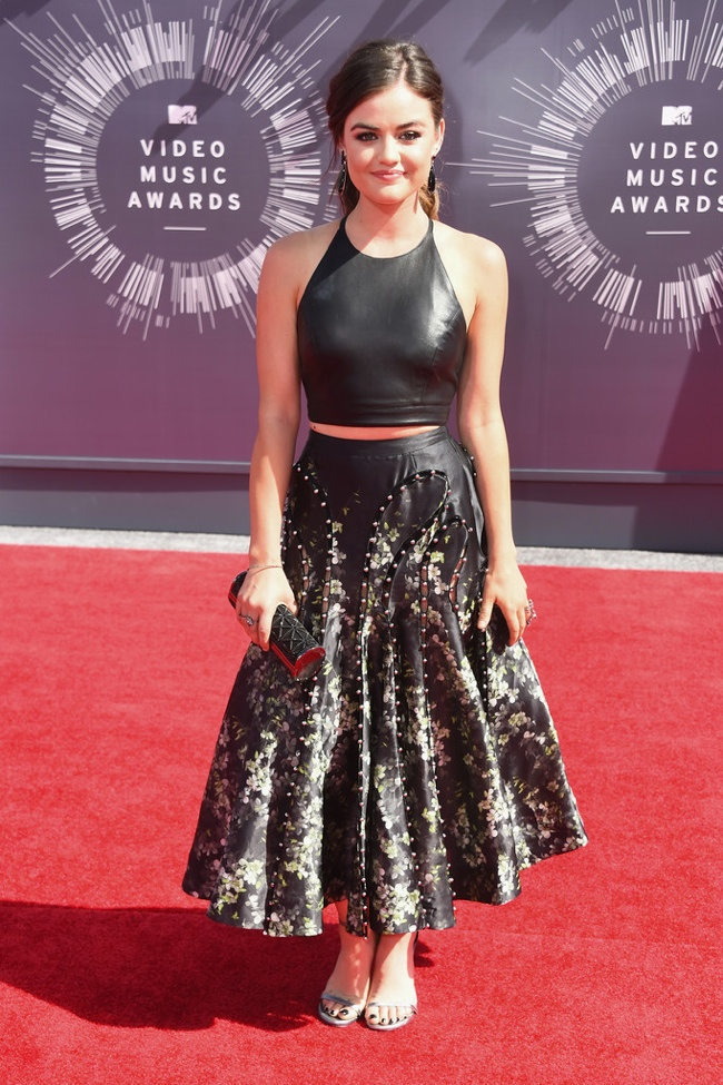 Lucy Hale wears black crop top and skirt from Sachin + Bachi