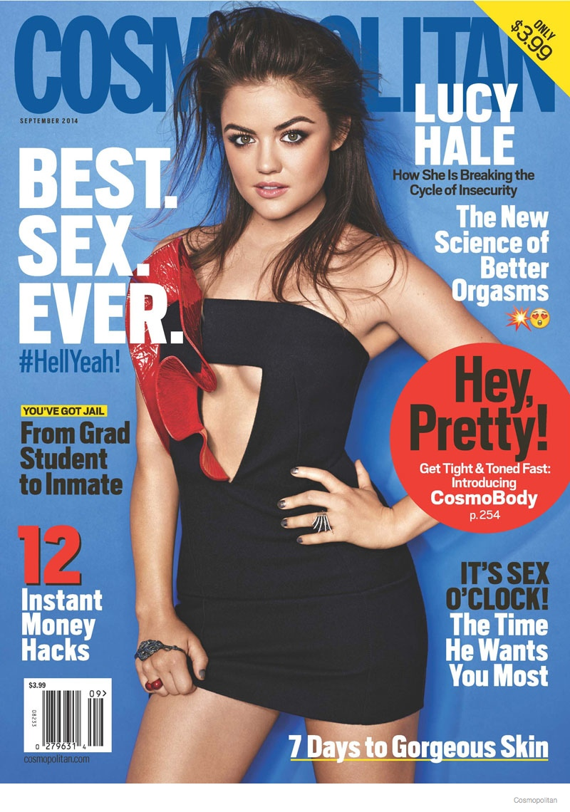 lucy hale cosmopolitan 2014 september cover01 Lucy Hale Covers Cosmopolitan, Talks Fifty Shades of Grey Audition