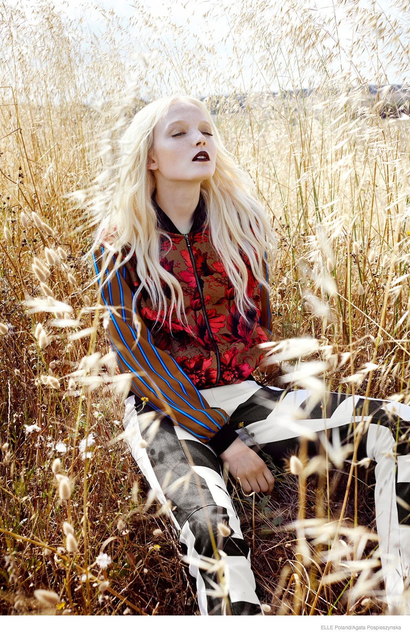 Maja Salamon Poses Outdoors for ELLE Poland by Agata Pospieszynska