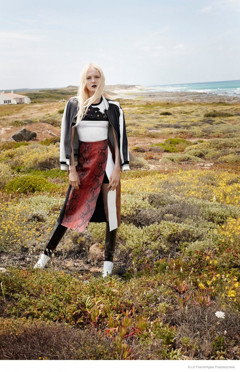 maja salamon outdoors shoot 2014 07 774x1200 Maja Salamon Poses Outdoors for ELLE Poland by Agata Pospieszynska