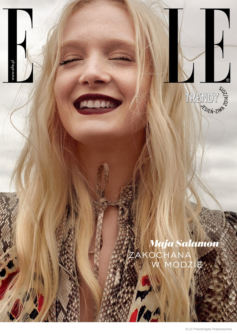 maja salamon outdoors shoot 2014 09 Maja Salamon Poses Outdoors for ELLE Poland by Agata Pospieszynska