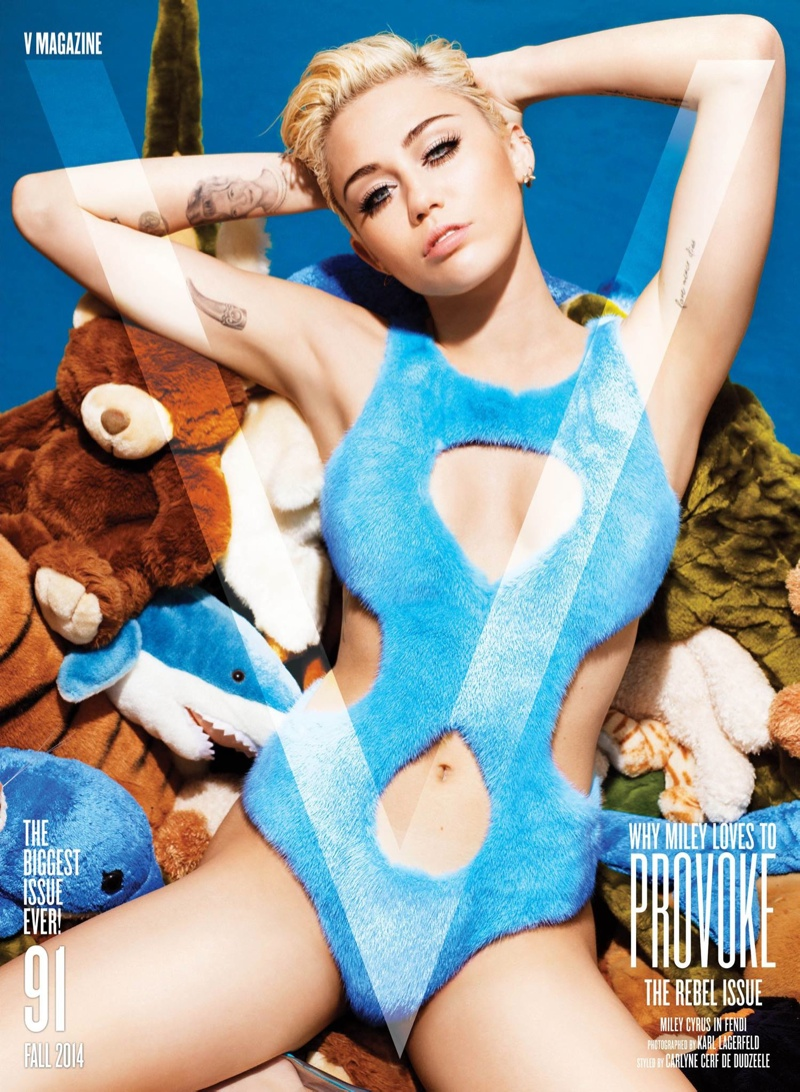 Miley Cyrus Lays on Stuffed Animals, Poses for Karl Lagerfeld on V #91 Cover