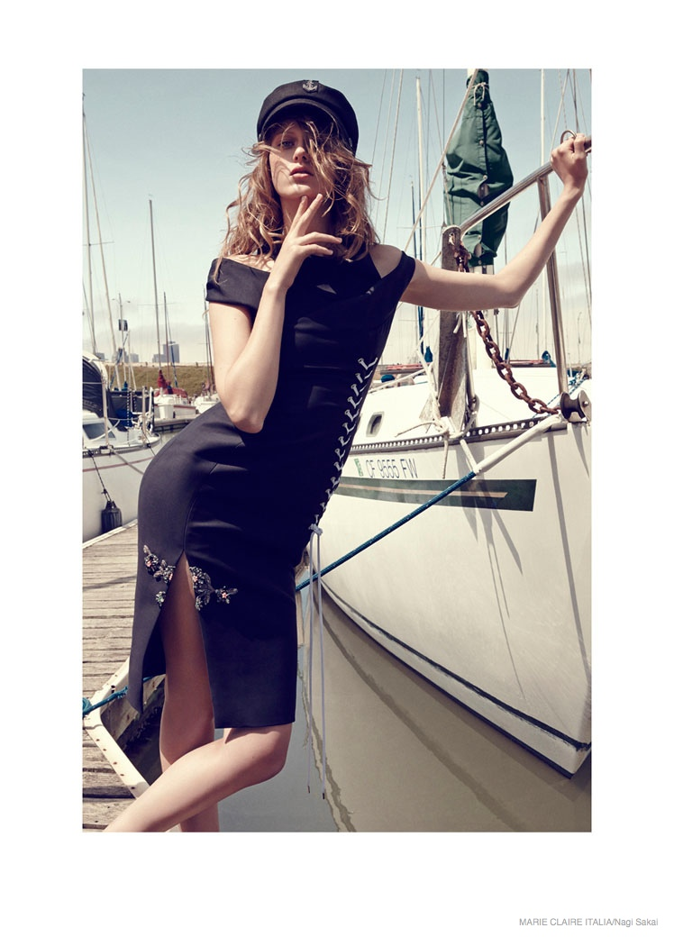 nautical sailor fashion shoot01 Tess Hellfeuer in Nautical Style for Marie Claire Italia by Nagi Sakai