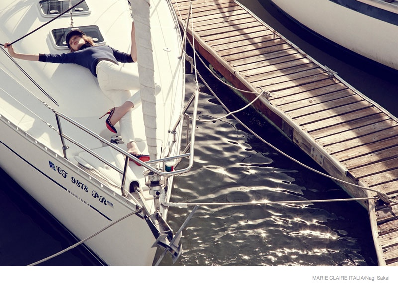 nautical sailor fashion shoot08 Tess Hellfeuer in Nautical Style for Marie Claire Italia by Nagi Sakai