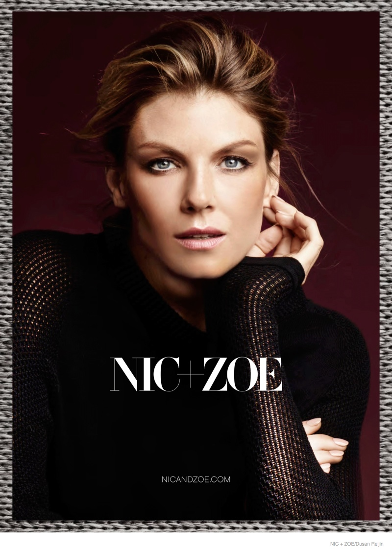 nic zoe sweaters fall 2014 ad campaign01 Angela Lindvall Models Nic+Zoe Knitwear for Fall 2014 Ads