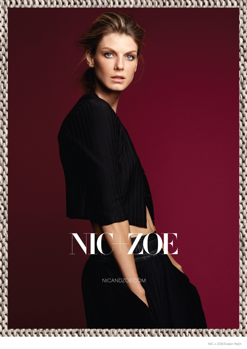 Angela Lindvall Models Nic+Zoe Knitwear for Fall 2014 Ads