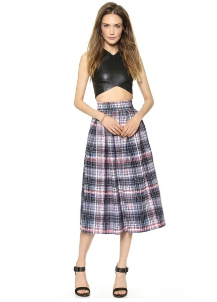 Nicholas Digital Check Silk Pleat Skirt available at Shopbop for $550.00