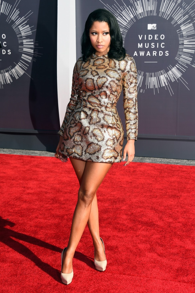 Nicki Minaj dons a Saint Laurent leopard print dress in metallic