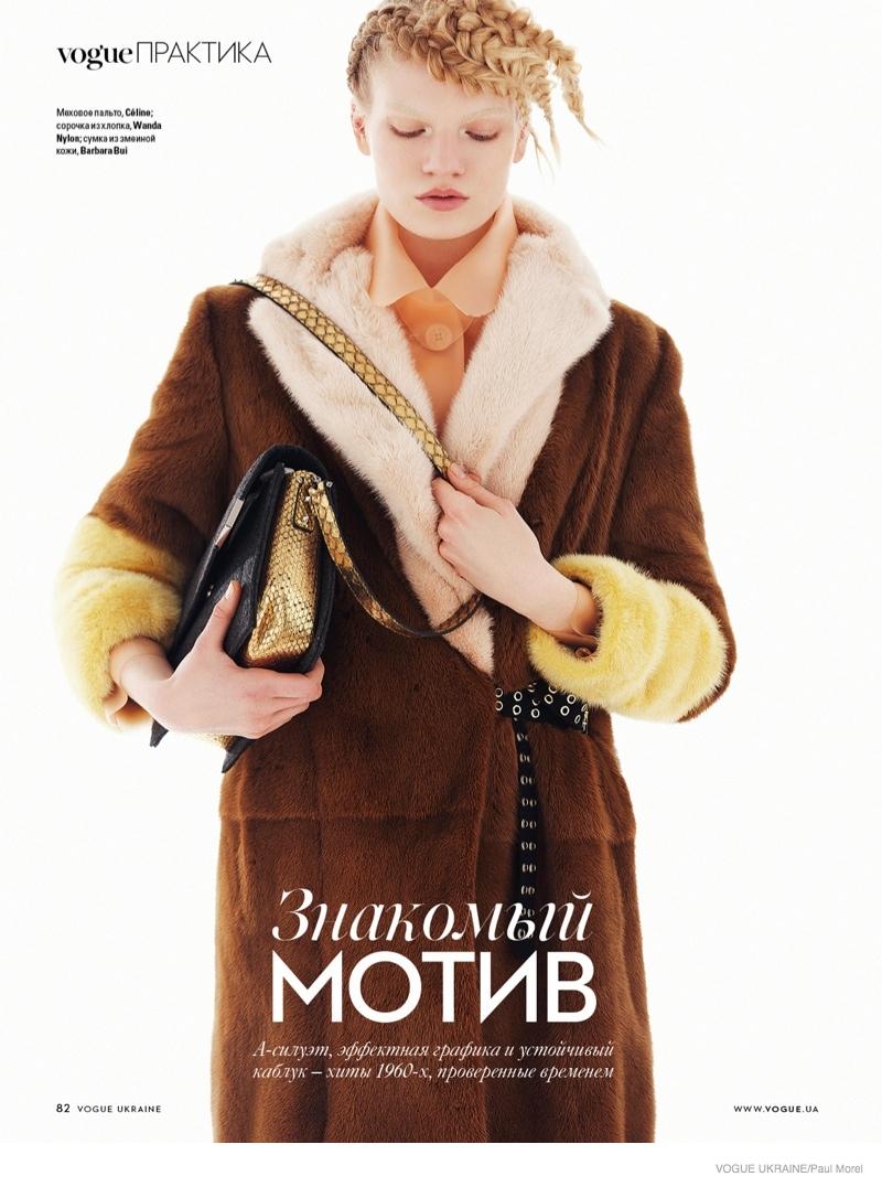 Eleonora Baumann Dons Luxe Outerwear for Vogue Ukraine by Paul Morel