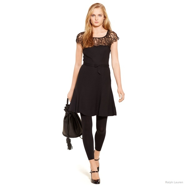 Polo Ralph Lauren Lace-Trim Belted Crepe Dress available at Ralph Lauren for $498.00