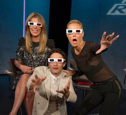 JUDGES UNLEASHED: Zac Posen, Heidi Klum and Nina Garcia have some fun with 3D glasses. Photo - Lifetime