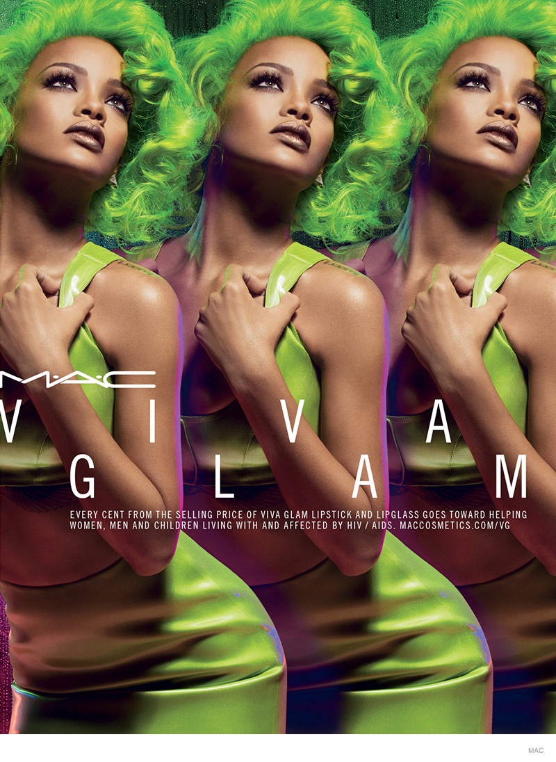 Rihanna Rocks Green Hair for MAC VIva Glam Fall 2014 Makeup Ad