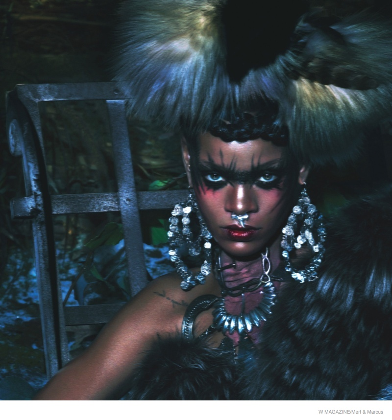 rihanna w magazine shoot01 Rihanna Gets Wild, Wears Fur for the September Cover Shoot of W