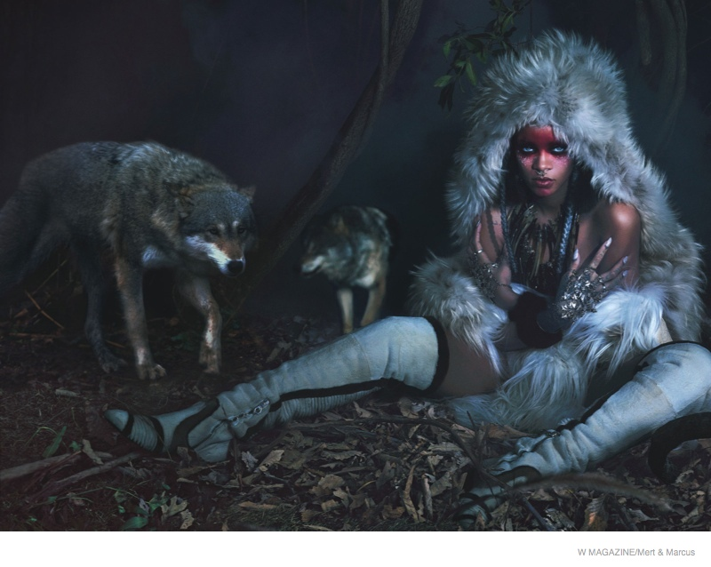rihanna w magazine shoot02 Rihanna Gets Wild, Wears Fur for the September Cover Shoot of W