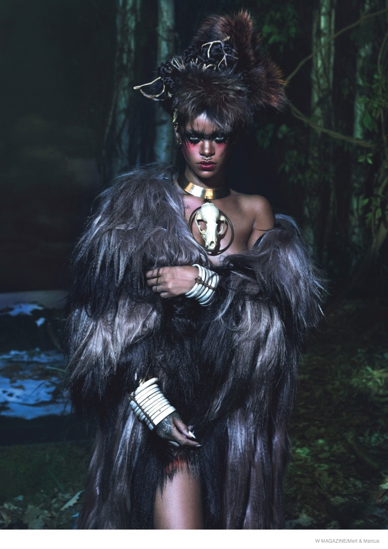 rihanna w magazine shoot04 Rihanna Gets Wild, Wears Fur for the September Cover Shoot of W