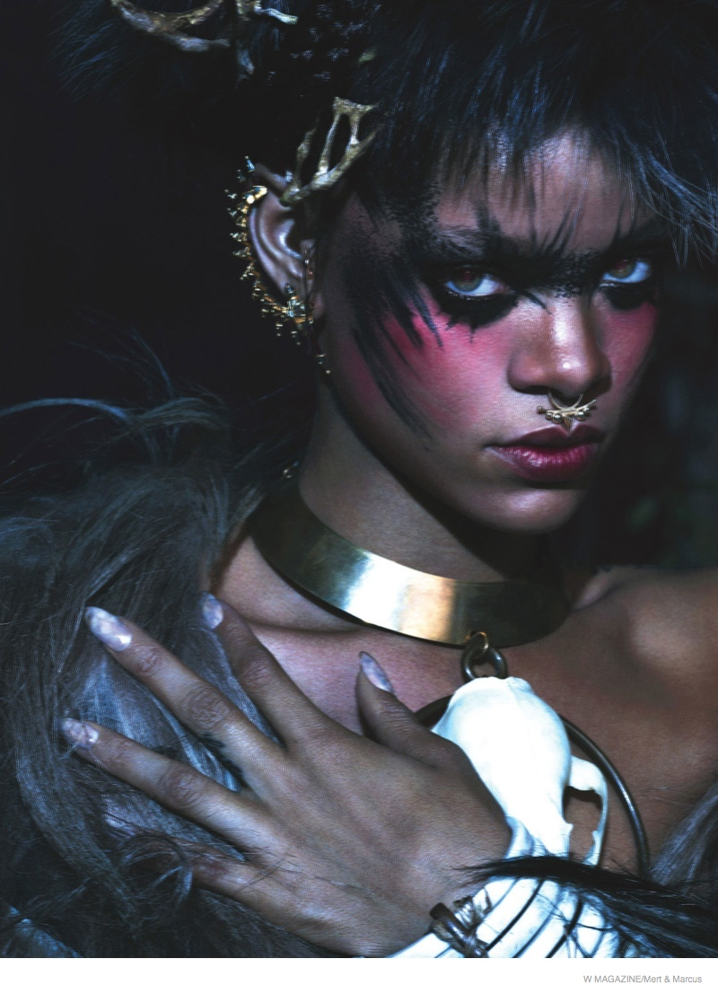 rihanna w magazine shoot06 Rihanna Gets Wild, Wears Fur for the September Cover Shoot of W