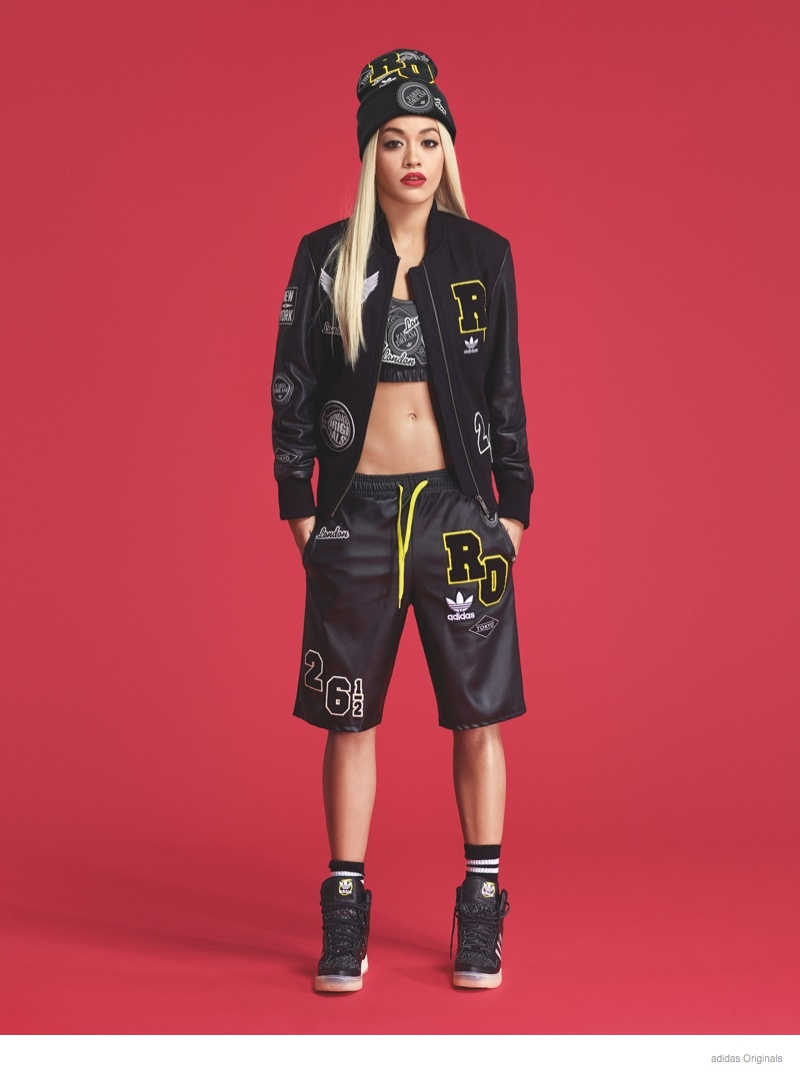 rita ora adidas originals clothing photos02 Preview: Rita Ora Poses in Beanie, Logos for adidas Originals Collaboration