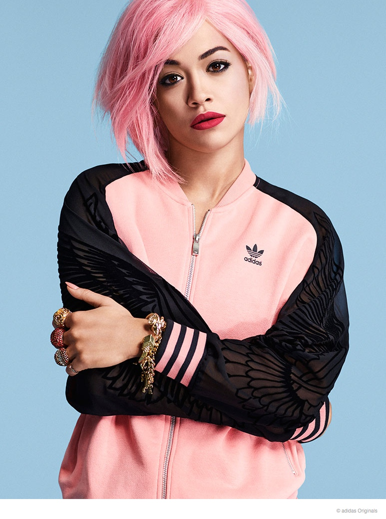 rita ora pink hair adidas02 Rita Ora Rocks Pink Hair in New adidas Originals Photos